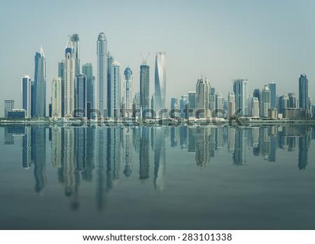Dubai Harbour Cityscape Skyline - stock photo