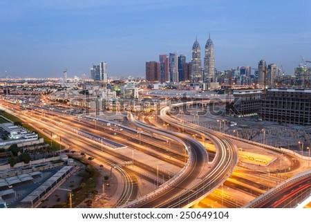 Dubai Internet Cty at night. Dubai, United Arab Emirates - stock photo