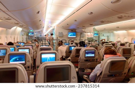 DUBAI - JUNE 04: Airbus A380 interior on June 04, 2014 in Dubai, UAE. Emirates handles major part of passenger traffic and aircraft movements at the airport. - stock photo