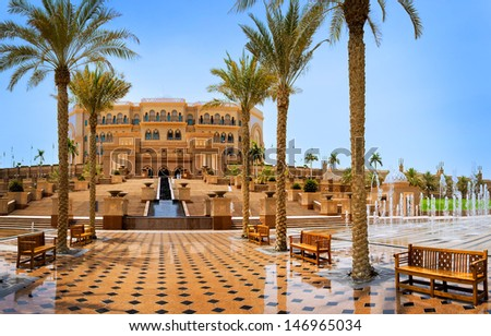 DUBAI - JUNE 5: Emirates Palace in Abu Dhabi on June 5, 2013 in Dubai. Emirates Palace was originally conceived as a venue for government summits and conferences in the Persian Gulf