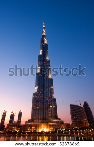 DUBAI - MARCH 31: Burj Khalifa is the tallest building in the world reaching over 800 meters, 31 march 2010 in dubai, UAE - stock photo