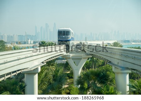 DUBAI - MARCH 6: Monorail station on a man-made island Palm Jumeirah on March , 2014 in Dubai, UAE. This monorail is the longest completely automated rail system.