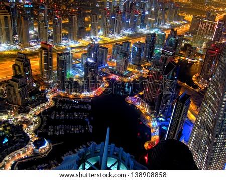 Dubai Marina at night. - stock photo
