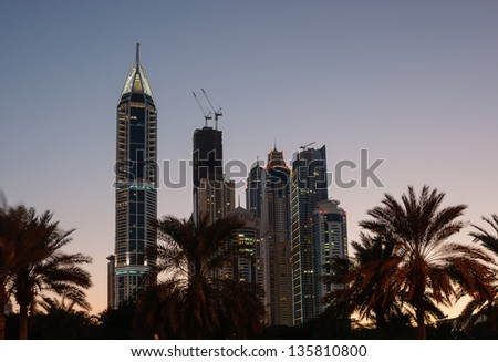 Dubai Marina at night. United Arab Emirates - stock photo