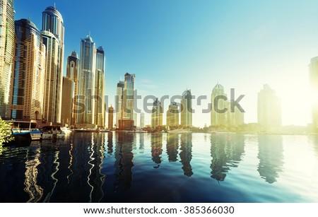 Dubai Marina at sunset, United Arab Emirates - stock photo