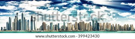 Dubai Marina at sunset, United Arab Emirates. - stock photo