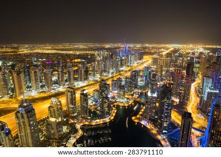 Dubai Marina by night.Aerial view Dubai marina. Dubai marina district Dubai marina skyscrapers.Dubai marina rooftop view.Dubai luxury homes.Dubai Emaar properties buildings.Dubai Jumeirah lakes towers - stock photo