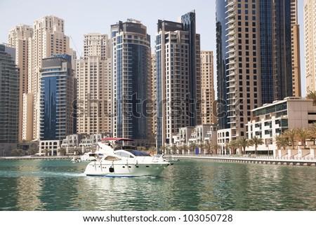 Dubai Marina cityscape, UAE - stock photo