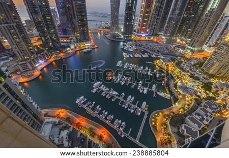 Dubai marina during twilight - stock photo
