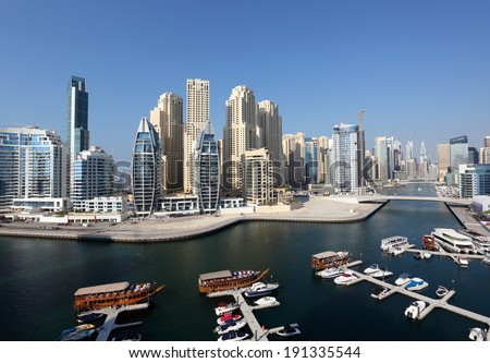 Dubai Marina high angle view. Dubai, United Arab Emirates - stock photo
