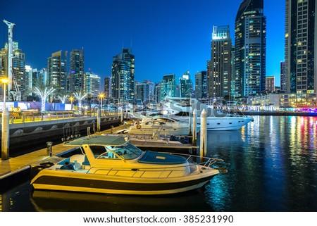 Dubai marina in a summer night, Dubai, UAE. - stock photo