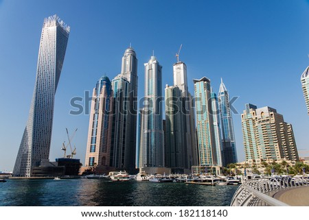 Dubai Marina is one of the most luxurious areas in Dubai - stock photo