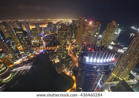 Dubai Marina night view. In the city of artificial channel length of 3 kilometers. Aerial view Dubai, OAE. - stock photo