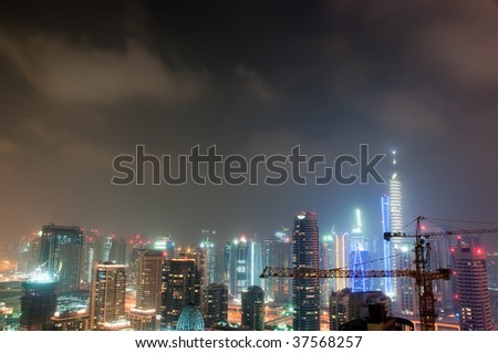 Dubai Marina on a Cloudy Night