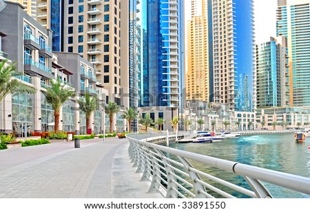 Dubai Marina Promenade - stock photo