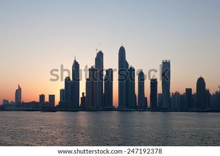 Dubai Marina skyline at sunrise. United Arab Emirates - stock photo