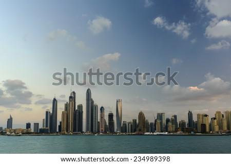 Dubai Marina skyline. View from sea. - stock photo