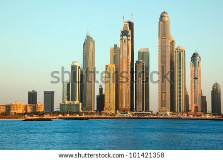 Dubai Marina skyscrapers. View from sea - stock photo