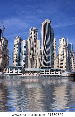 dubai marina skyscrapers with reflection