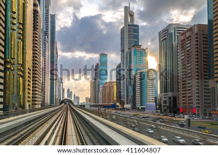 Dubai metro in a summer day, United Arab Emirates