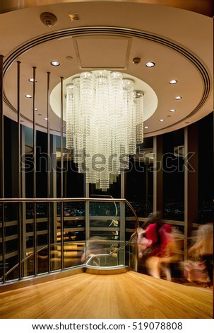 DUBAI - NOVEMBER 08, 2016: Burj Khalifa. The interior of the Burj Khalifa in 125 floor, large crystal chandelier in the 125 floor. Dubai, United Arab Emirates