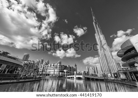 DUBAI - NOVEMBER 22, 2015: Burj Khalifa tower. This skyscraper is the tallest man-made structure in the world, measuring 828 m. Completed in 2009.