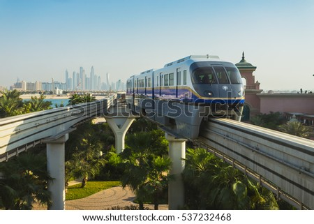 DUBAI - NOVEMBER 3: Monorail station on a man-made island Palm Jumeirah on Novrmber 3, 2013 in Dubai, UAE. This monorail is the longest completely automated rail system.
