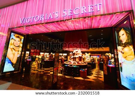 DUBAI - OCT 13: Victoria's Secret shop in Dubai Mall on October 13, 2014 in Dubai, UAE. The Dubai Mall located in Dubai, it is part of the 20-billion-dollar Downtown Dubai complex - stock photo