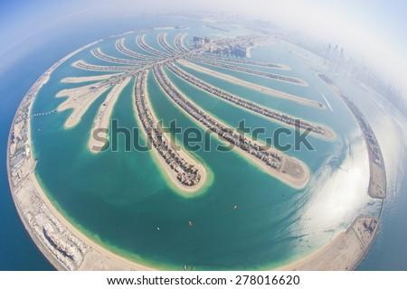 Dubai Palm Island from Parachute - stock photo