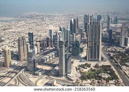 Dubai panorama view from 450 m. - stock photo