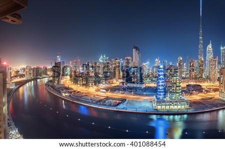 Dubai Panoramic View From Top at night - stock photo