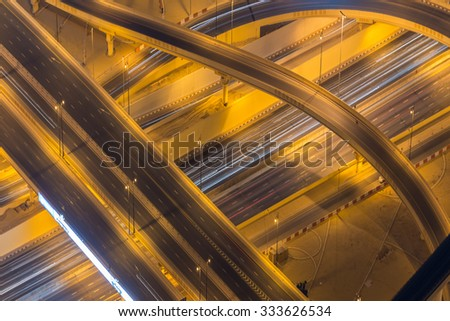 Dubai road junction during night hours - stock photo