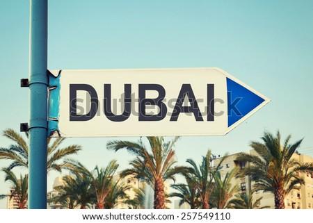 Dubai Road Sign. United Arab Emirates - stock photo