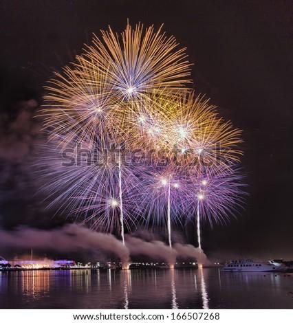 Dubai shopping festival fireworks - stock photo