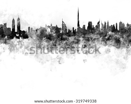 Dubai skyline in black watercolor on white background - stock photo