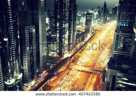 Dubai skyline in sunset time, United Arab Emirates - stock photo