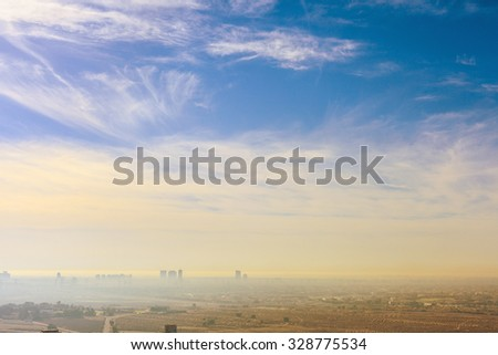 Dubai skyline, United Arab Emirates. Desert and city. - stock photo