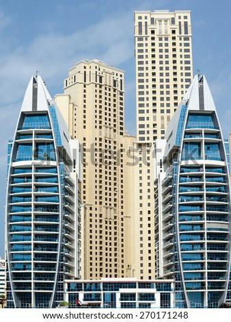 Dubai skyscraper architecture, UAE - stock photo