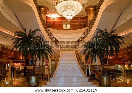 summer 2016 the interior with marble stairs in hotel hilton sharjah