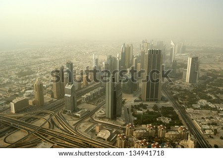 Dubai, UAE. Aerial view from the height of Burj Khalifa