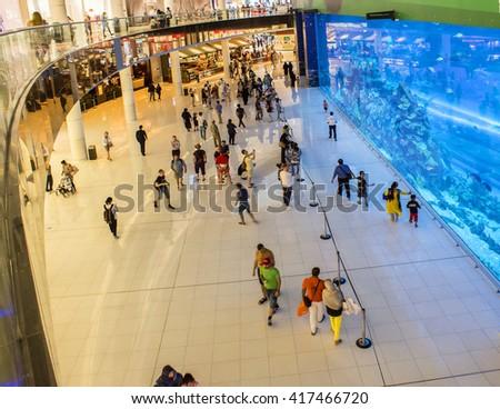 DUBAI, UAE - April 6 2016: Aquarium in Dubai Mall - world's largest shopping mall , Downtown Burj Dubai, United Arab Emirates - stock photo