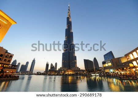 Dubai, UAE, April 9 2012. Burj Khalifa and Dubai Mall in Dubai Downtown at twilight. Burj Khalifa is a highest building in the world. - stock photo