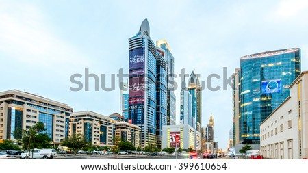 DUBAI, UAE - APRIL 1, 2016: Dubai downtown architecture at morning. Aerial view of the Sheikh Zayed road with numerous skyscrapers. - stock photo