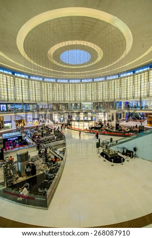 DUBAI, UAE - APRIL 07, 2015:Dubai Mall, the world's largest shopping mall, part of the 20 billion dollars Downtown Dubai Complex, and includes around 1,200 shops