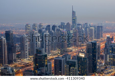 DUBAI, UAE - April 11 2016: Dubai, UAE. Dubai marina skylineSheikh  and Zayed Road,United Arab Emirates.
