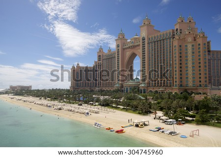 DUBAI, UAE - AUGUST 14: Atlantis hotel on August 14, 2013 in Dubai, UAE. Atlantis the Palm is a luxury 5 star hotel built on an artificial island