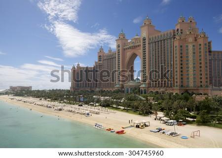 DUBAI, UAE - AUGUST 14: Atlantis hotel on August 14, 2013 in Dubai, UAE. Atlantis the Palm is a luxury 5 star hotel built on an artificial island  - stock photo
