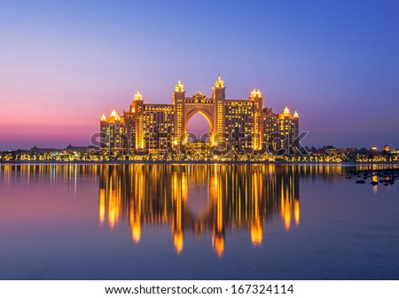 DUBAI, UAE - AUGUST 23: The  multi-million dollar Atlantis Resort, Hotel & Theme Park at the Palm Jumeirah Island in Dubai August 23, 2013 - stock photo