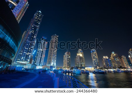DUBAI, UAE - Dec 4 : A skyline view of Dubai Marina showing the Marina and JBR on Dec 4, 2013 in Dubai, UAE.  - stock photo