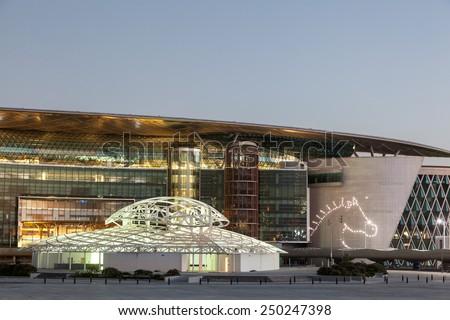 DUBAI, UAE - DEC 13: Meydan Race Club  (former Nad Al Sheba Racecourse) in Dubai. December 13, 2014 in Dubai, United Arab Emirates - stock photo